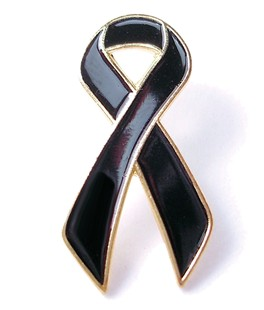 Black Ribbon Lapel Pin