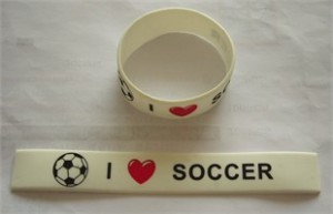 I Love Soccer Wide Wristband