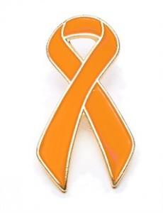 Orange Ribbon Lapel Pin