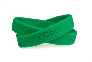 Hope Courange Faith Green Wristband