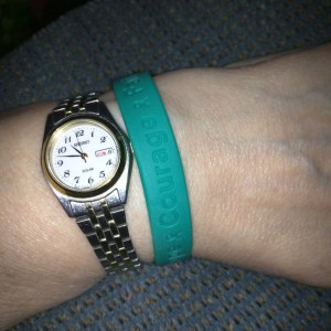 Teal Hope Courage Faith Wristband - 7 inch youth