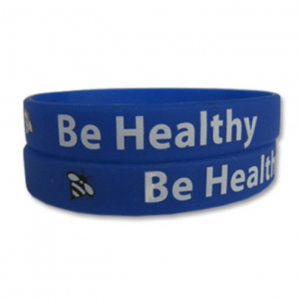 """""""Be Healthy""""  Rubber Bracelet Wristband     A gentle reminder to do what we can to keep ourselves healthy: eat well, wash your hands, drink plenty of water, get enough sleep. And, if you aren't feeling well, stay home."""
