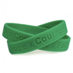Green Hope Courage Faith Rubber Wristband