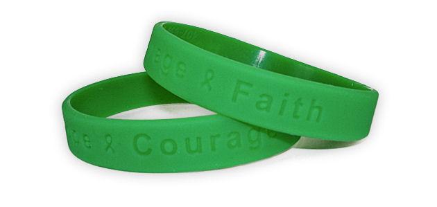 Hope Courage Faith Green Awareness Wristband