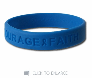 """Hope Courage Faith"" 8"" Blue Wristband"