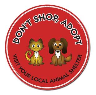 """Don't Shop, Adopt"" 6"" Car Magnet"