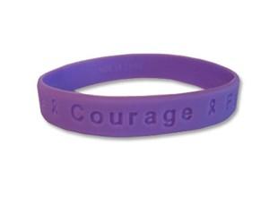 Hope Courage Faith Purple Rubber Wristband
