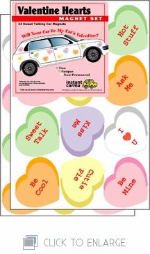 Valentine's Day Hearts Car Magnet Set
