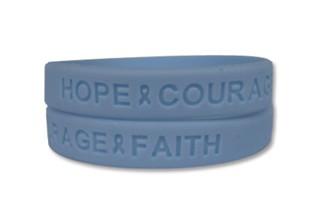 Light Blue Hope Courage Faith Wristband - Thyroid Disease Awareness