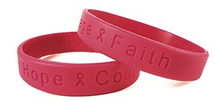 """""""Hope Courage Faith"""" Red Rubber Wristband"""