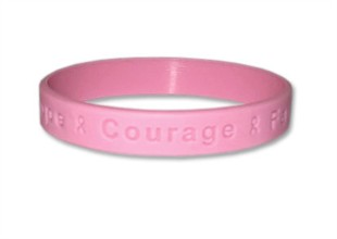 "Hope Courage Faith Pink Wristband - 8"" Adult"