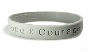 "Gray ""Hope Courage Faith"" Rubber Wristband"