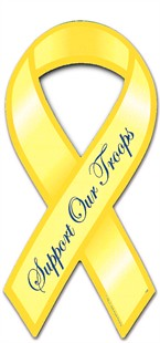 Support Our Troops Yellow Ribbon Car Magnet - Script