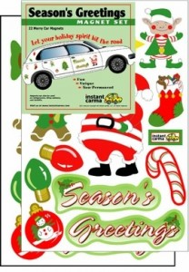 Season's Greeting Holiday Car Magnet Set