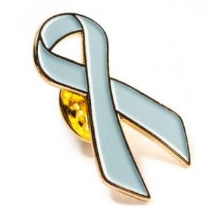 light blue ribbon lapel pin