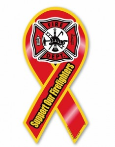 Support Our Firefighters Ribbon Car Magnet