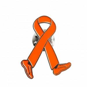 Orange Ribbon Walking Lapel Pin