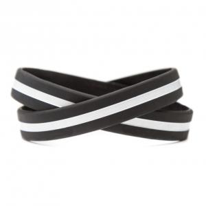 Thin White Line Wristband - Black with White Stripe